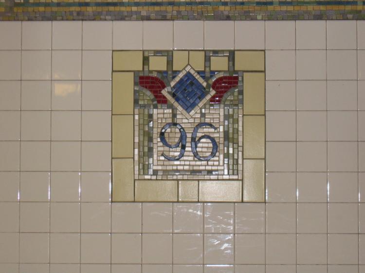 (46k, 750x562)<br><b>Country:</b> United States<br><b>City:</b> New York<br><b>System:</b> New York City Transit<br><b>Line:</b> IRT East Side Line<br><b>Location:</b> 96th Street <br><b>Photo by:</b> Robbie Rosenfeld<br><b>Date:</b> 3/1/2005<br><b>Artwork:</b> <i>City Suite</i>, Laura Bradley (1994).<br><b>Viewed (this week/total):</b> 3 / 3300