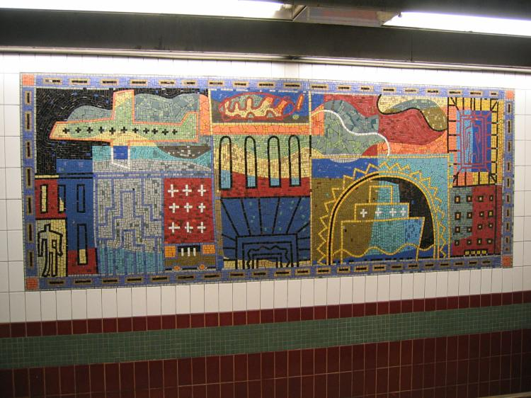 (91k, 750x562)<br><b>Country:</b> United States<br><b>City:</b> New York<br><b>System:</b> New York City Transit<br><b>Line:</b> IRT White Plains Road Line<br><b>Location:</b> 3rd Avenue/149th Street <br><b>Photo by:</b> Robbie Rosenfeld<br><b>Date:</b> 2/8/2005<br><b>Artwork:</b> <i>Una Raza, Un Mundo, Universo (One Race, One World, One Universe)</i>, Jose Ortega (1996).<br><b>Viewed (this week/total):</b> 0 / 1819