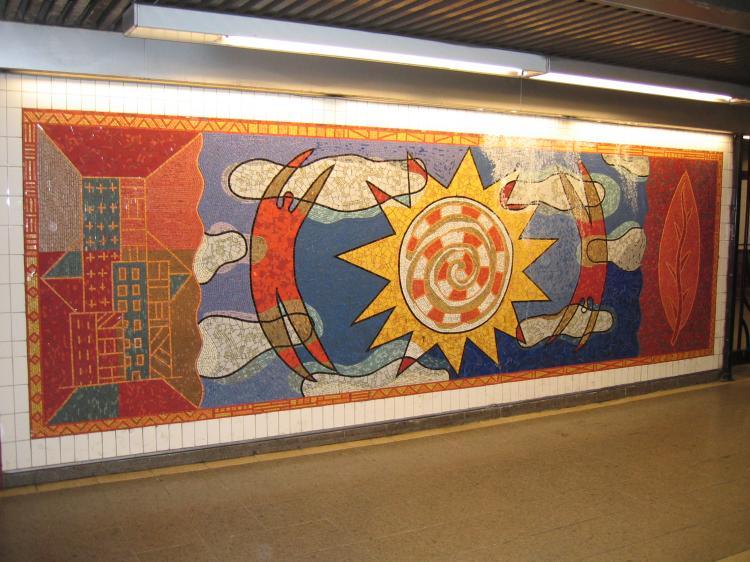 (84k, 750x562)<br><b>Country:</b> United States<br><b>City:</b> New York<br><b>System:</b> New York City Transit<br><b>Line:</b> IRT White Plains Road Line<br><b>Location:</b> 3rd Avenue/149th Street <br><b>Photo by:</b> Robbie Rosenfeld<br><b>Date:</b> 2/8/2005<br><b>Artwork:</b> <i>Una Raza, Un Mundo, Universo (One Race, One World, One Universe)</i>, Jose Ortega (1996).<br><b>Viewed (this week/total):</b> 7 / 3493