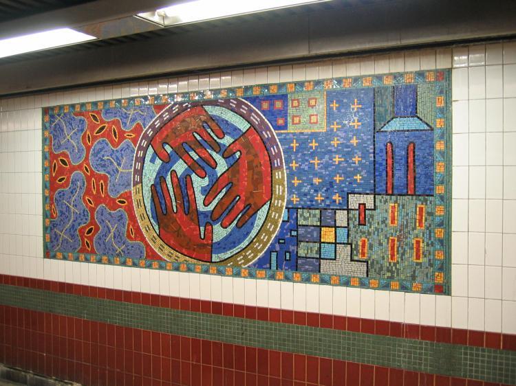 (90k, 750x562)<br><b>Country:</b> United States<br><b>City:</b> New York<br><b>System:</b> New York City Transit<br><b>Line:</b> IRT White Plains Road Line<br><b>Location:</b> 3rd Avenue/149th Street <br><b>Photo by:</b> Robbie Rosenfeld<br><b>Date:</b> 2/8/2005<br><b>Artwork:</b> <i>Una Raza, Un Mundo, Universo (One Race, One World, One Universe)</i>, Jose Ortega (1996).<br><b>Viewed (this week/total):</b> 0 / 1863