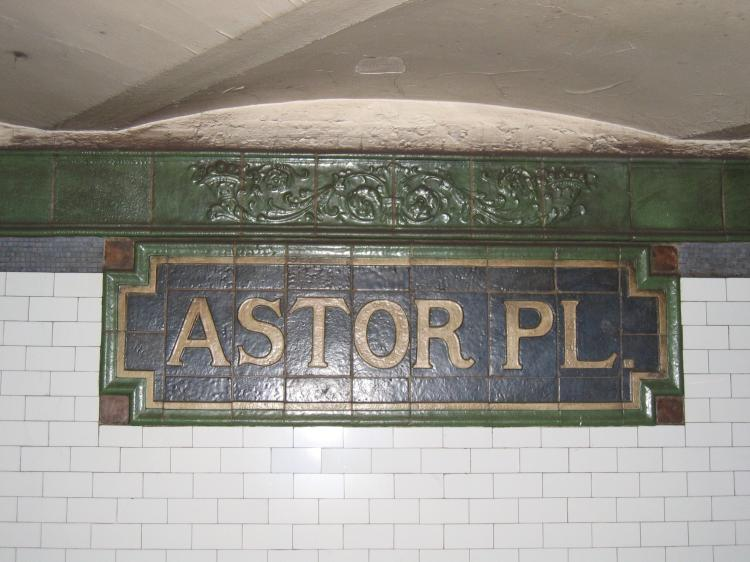 (64k, 750x562)<br><b>Country:</b> United States<br><b>City:</b> New York<br><b>System:</b> New York City Transit<br><b>Line:</b> IRT East Side Line<br><b>Location:</b> Astor Place <br><b>Photo by:</b> Robbie Rosenfeld<br><b>Date:</b> 3/1/2005<br><b>Notes:</b> Faience name tablet, Heins & LaFarge/Grueby Faience Company, 1904. Original design element, Contract 1 IRT.<br><b>Viewed (this week/total):</b> 0 / 1569