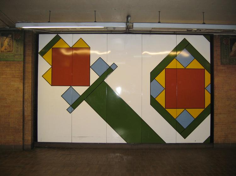 (47k, 750x562)<br><b>Country:</b> United States<br><b>City:</b> New York<br><b>System:</b> New York City Transit<br><b>Line:</b> IRT East Side Line<br><b>Location:</b> Astor Place <br><b>Photo by:</b> Robbie Rosenfeld<br><b>Date:</b> 3/2/2005<br><b>Artwork:</b> <i>Untitled</i>, Milton Glaser (1986).<br><b>Viewed (this week/total):</b> 0 / 3028