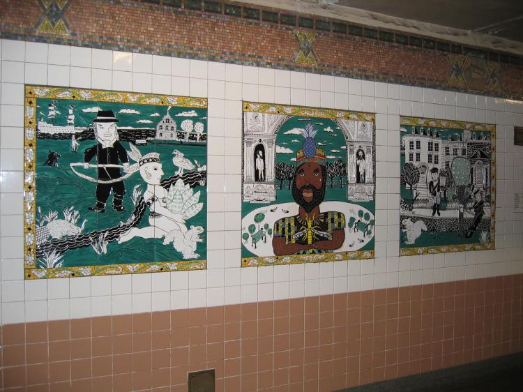 (84k, 750x562)<br><b>Country:</b> United States<br><b>City:</b> New York<br><b>System:</b> New York City Transit<br><b>Line:</b> IRT West Side Line<br><b>Location:</b> Christopher Street/Sheridan Square <br><b>Photo by:</b> Robbie Rosenfeld<br><b>Date:</b> 3/7/2005<br><b>Artwork:</b> <i>The Greenwich Village Murals</i>, Lee Brozgol (1994).<br><b>Notes:</b> Founders panel.<br><b>Viewed (this week/total):</b> 3 / 3049
