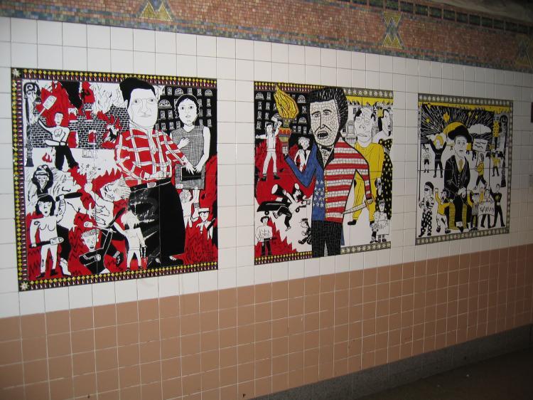 (92k, 750x562)<br><b>Country:</b> United States<br><b>City:</b> New York<br><b>System:</b> New York City Transit<br><b>Line:</b> IRT West Side Line<br><b>Location:</b> Christopher Street/Sheridan Square <br><b>Photo by:</b> Robbie Rosenfeld<br><b>Date:</b> 3/16/2005<br><b>Artwork:</b> <i>The Greenwich Village Murals</i>, Lee Brozgol (1994).<br><b>Notes:</b> Rebels panel.<br><b>Viewed (this week/total):</b> 8 / 3338