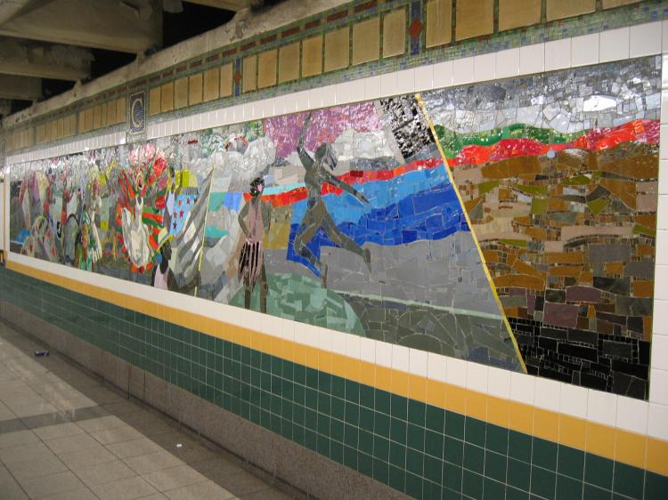 (83k, 750x562)<br><b>Country:</b> United States<br><b>City:</b> New York<br><b>System:</b> New York City Transit<br><b>Line:</b> IRT Brooklyn Line<br><b>Location:</b> Church Avenue <br><b>Photo by:</b> Robbie Rosenfeld<br><b>Date:</b> 2/13/2005<br><b>Artwork:</b> <i>Transitions</i>, Louis Delsarte (2001).<br><b>Viewed (this week/total):</b> 1 / 3473