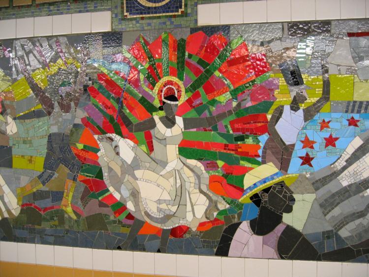 (95k, 750x562)<br><b>Country:</b> United States<br><b>City:</b> New York<br><b>System:</b> New York City Transit<br><b>Line:</b> IRT Brooklyn Line<br><b>Location:</b> Church Avenue <br><b>Photo by:</b> Robbie Rosenfeld<br><b>Date:</b> 2/13/2005<br><b>Artwork:</b> <i>Transitions</i>, Louis Delsarte (2001).<br><b>Viewed (this week/total):</b> 4 / 3357