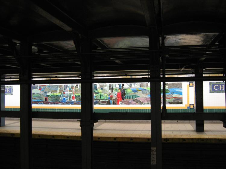 (53k, 750x562)<br><b>Country:</b> United States<br><b>City:</b> New York<br><b>System:</b> New York City Transit<br><b>Line:</b> IRT Brooklyn Line<br><b>Location:</b> Church Avenue <br><b>Photo by:</b> Robbie Rosenfeld<br><b>Date:</b> 2/13/2005<br><b>Artwork:</b> <i>Transitions</i>, Louis Delsarte (2001).<br><b>Viewed (this week/total):</b> 0 / 3801