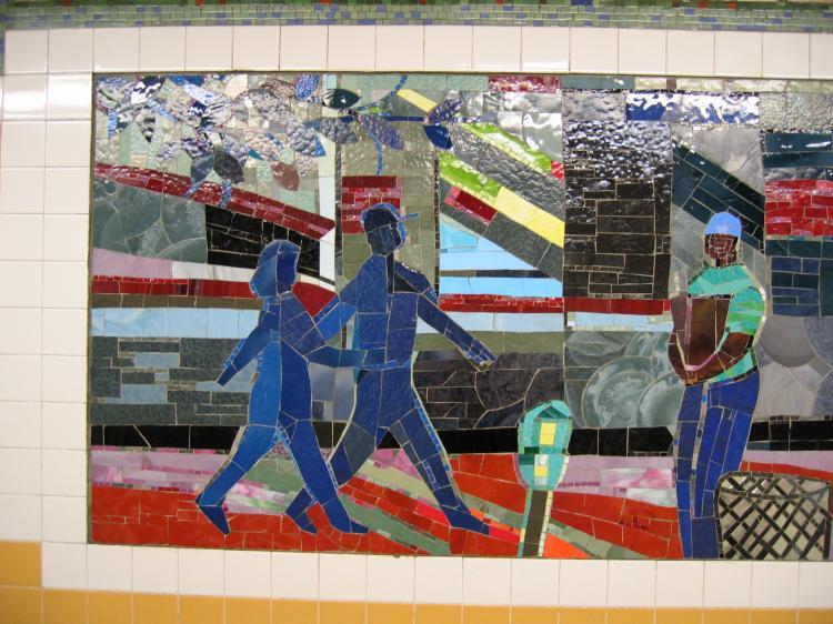 (92k, 750x562)<br><b>Country:</b> United States<br><b>City:</b> New York<br><b>System:</b> New York City Transit<br><b>Line:</b> IRT Brooklyn Line<br><b>Location:</b> Church Avenue <br><b>Photo by:</b> Robbie Rosenfeld<br><b>Date:</b> 2/13/2005<br><b>Artwork:</b> <i>Transitions</i>, Louis Delsarte (2001).<br><b>Viewed (this week/total):</b> 7 / 3102