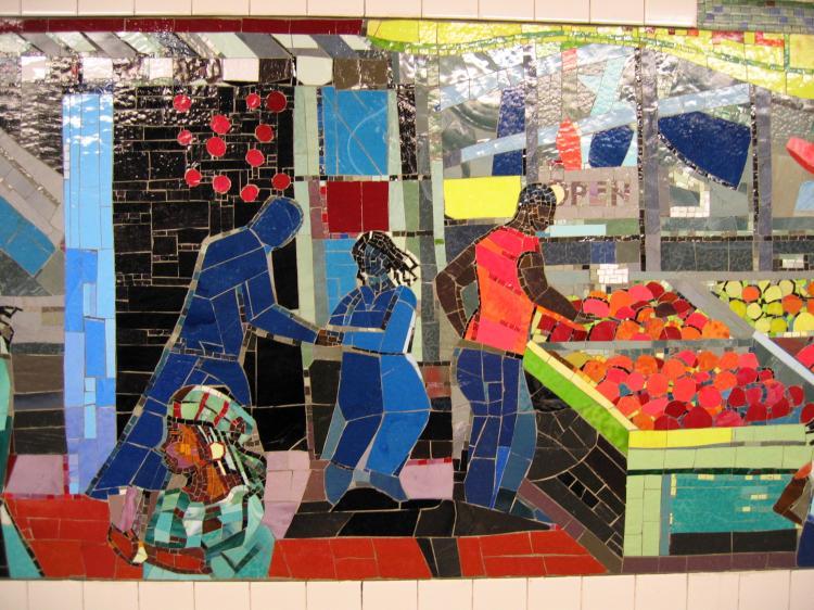 (103k, 750x562)<br><b>Country:</b> United States<br><b>City:</b> New York<br><b>System:</b> New York City Transit<br><b>Line:</b> IRT Brooklyn Line<br><b>Location:</b> Church Avenue <br><b>Photo by:</b> Robbie Rosenfeld<br><b>Date:</b> 2/13/2005<br><b>Artwork:</b> <i>Transitions</i>, Louis Delsarte (2001).<br><b>Viewed (this week/total):</b> 6 / 2882