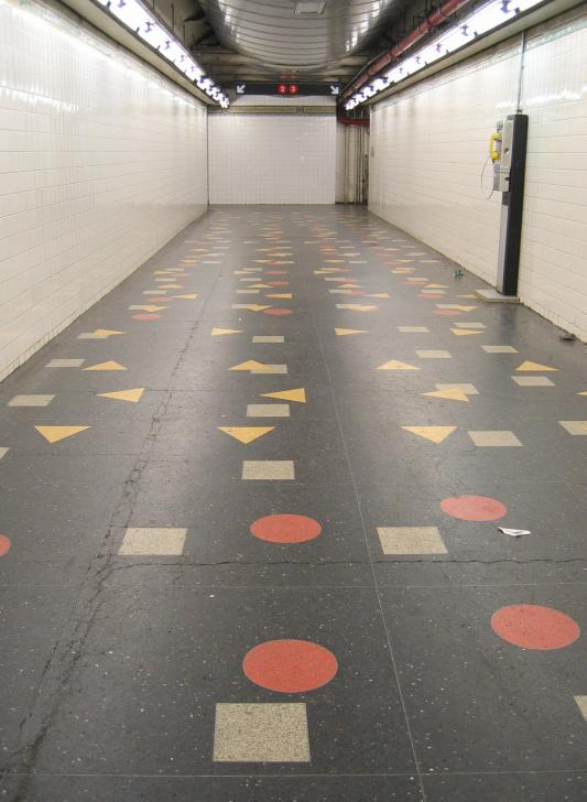 (55k, 533x728)<br><b>Country:</b> United States<br><b>City:</b> New York<br><b>System:</b> New York City Transit<br><b>Line:</b> IRT Brooklyn Line<br><b>Location:</b> Clark Street <br><b>Photo by:</b> Robbie Rosenfeld<br><b>Date:</b> 3/21/2005<br><b>Artwork:</b> <i>Clark Street Passage</i>, Ray Ring (1987).<br><b>Viewed (this week/total):</b> 6 / 4995