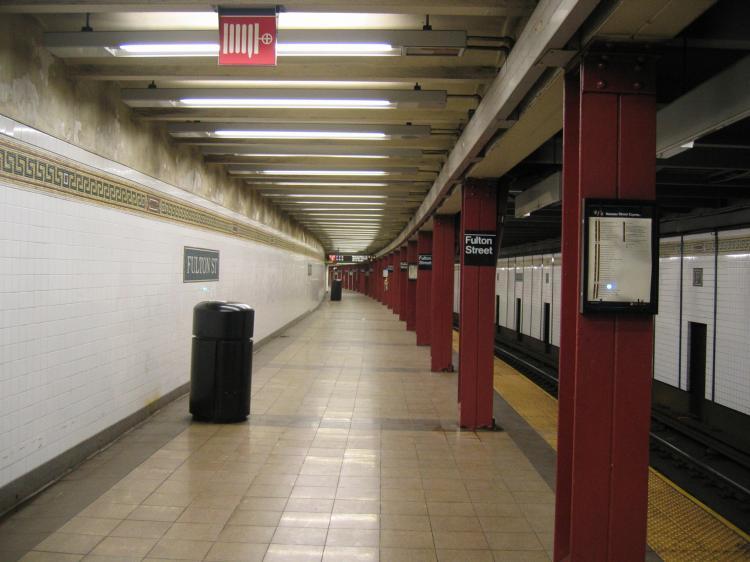 (58k, 750x562)<br><b>Country:</b> United States<br><b>City:</b> New York<br><b>System:</b> New York City Transit<br><b>Line:</b> BMT Nassau Street/Jamaica Line<br><b>Location:</b> Fulton Street <br><b>Photo by:</b> Robbie Rosenfeld<br><b>Date:</b> 3/29/2005<br><b>Viewed (this week/total):</b> 5 / 3364