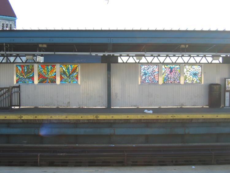 (54k, 750x562)<br><b>Country:</b> United States<br><b>City:</b> New York<br><b>System:</b> New York City Transit<br><b>Line:</b> BMT Nassau Street/Jamaica Line<br><b>Location:</b> Kosciuszko Street <br><b>Photo by:</b> Robbie Rosenfeld<br><b>Date:</b> 3/14/2005<br><b>Artwork:</b> <i>Euphorbias</i>, Ronald Calloway.<br><b>Viewed (this week/total):</b> 1 / 2810