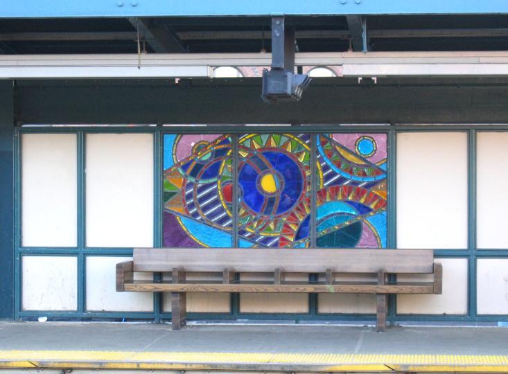 (62k, 733x540)<br><b>Country:</b> United States<br><b>City:</b> New York<br><b>System:</b> New York City Transit<br><b>Line:</b> BMT Nassau Street/Jamaica Line<br><b>Location:</b> Marcy Avenue <br><b>Photo by:</b> Robbie Rosenfeld<br><b>Date:</b> 3/14/2005<br><b>Artwork:</b> <i>A Space Odyssey</i>, Ellsworth Ausby (2005).<br><b>Viewed (this week/total):</b> 1 / 3242