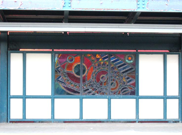(59k, 736x545)<br><b>Country:</b> United States<br><b>City:</b> New York<br><b>System:</b> New York City Transit<br><b>Line:</b> BMT Nassau Street/Jamaica Line<br><b>Location:</b> Marcy Avenue <br><b>Photo by:</b> Robbie Rosenfeld<br><b>Date:</b> 3/14/2005<br><b>Artwork:</b> <i>A Space Odyssey</i>, Ellsworth Ausby (2005).<br><b>Viewed (this week/total):</b> 0 / 3127
