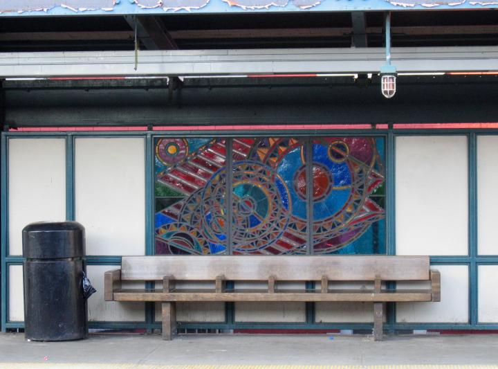 (61k, 720x533)<br><b>Country:</b> United States<br><b>City:</b> New York<br><b>System:</b> New York City Transit<br><b>Line:</b> BMT Nassau Street/Jamaica Line<br><b>Location:</b> Marcy Avenue <br><b>Photo by:</b> Robbie Rosenfeld<br><b>Date:</b> 3/14/2005<br><b>Artwork:</b> <i>A Space Odyssey</i>, Ellsworth Ausby (2005).<br><b>Viewed (this week/total):</b> 7 / 2829