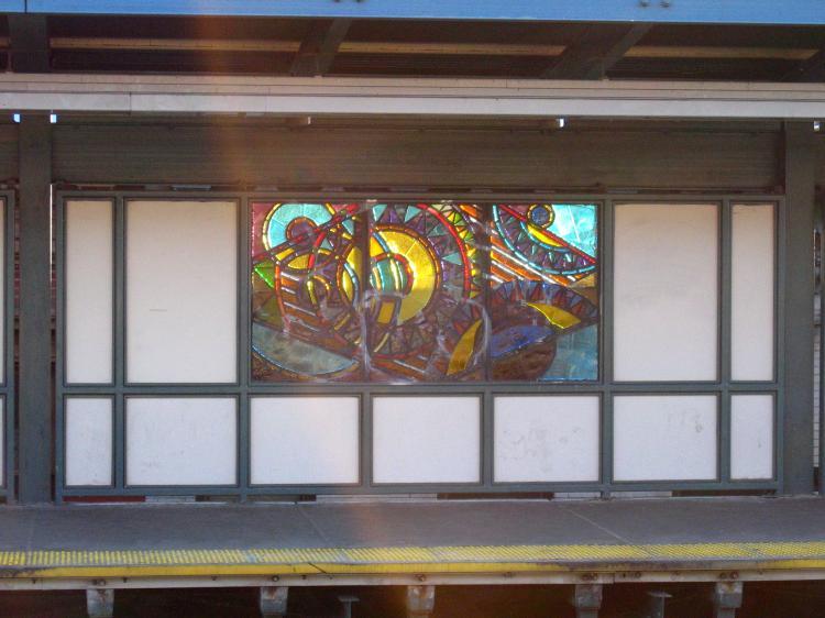 (61k, 750x562)<br><b>Country:</b> United States<br><b>City:</b> New York<br><b>System:</b> New York City Transit<br><b>Line:</b> BMT Nassau Street/Jamaica Line<br><b>Location:</b> Marcy Avenue <br><b>Photo by:</b> Robbie Rosenfeld<br><b>Date:</b> 3/14/2005<br><b>Artwork:</b> <i>A Space Odyssey</i>, Ellsworth Ausby (2005).<br><b>Viewed (this week/total):</b> 5 / 2944