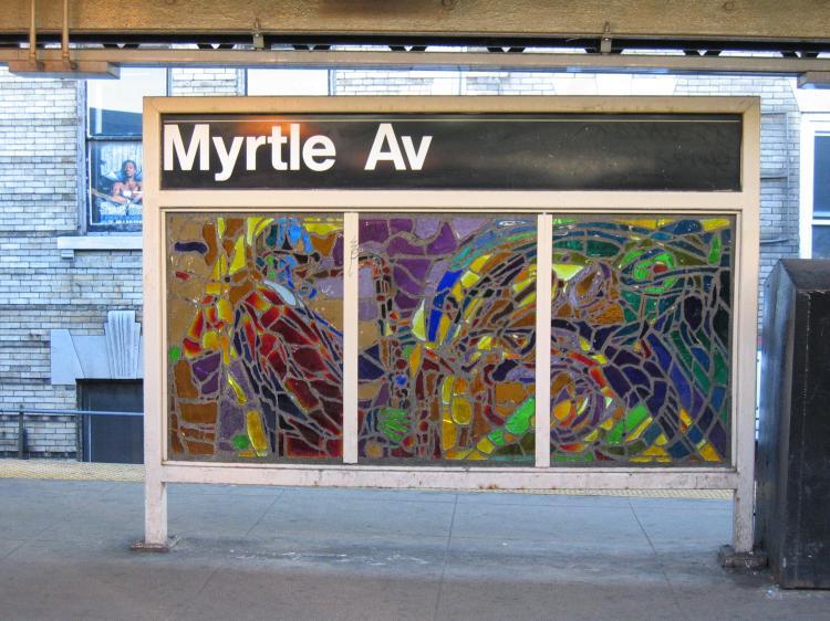 (87k, 750x562)<br><b>Country:</b> United States<br><b>City:</b> New York<br><b>System:</b> New York City Transit<br><b>Line:</b> BMT Nassau Street/Jamaica Line<br><b>Location:</b> Myrtle Avenue <br><b>Photo by:</b> Robbie Rosenfeld<br><b>Date:</b> 3/14/2005<br><b>Artwork:</b> <i>Jammin' Under the El</i>, Verna Hart (1999).<br><b>Viewed (this week/total):</b> 1 / 2340