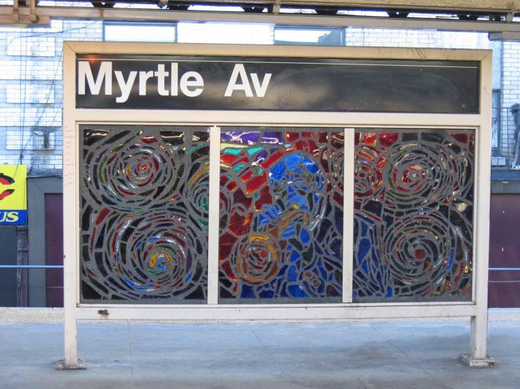 (87k, 750x562)<br><b>Country:</b> United States<br><b>City:</b> New York<br><b>System:</b> New York City Transit<br><b>Line:</b> BMT Nassau Street/Jamaica Line<br><b>Location:</b> Myrtle Avenue <br><b>Photo by:</b> Robbie Rosenfeld<br><b>Date:</b> 3/14/2005<br><b>Artwork:</b> <i>Jammin' Under the El</i>, Verna Hart (1999).<br><b>Viewed (this week/total):</b> 1 / 2404