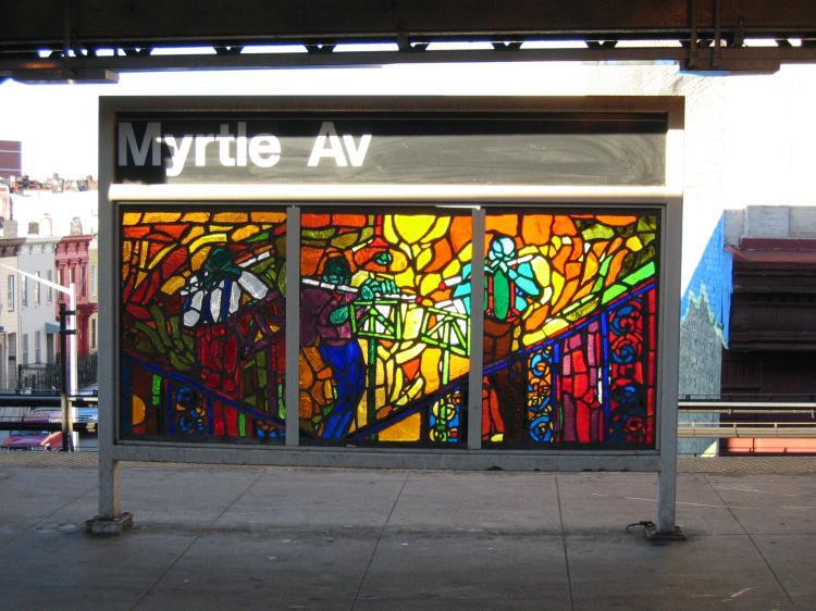 (83k, 750x562)<br><b>Country:</b> United States<br><b>City:</b> New York<br><b>System:</b> New York City Transit<br><b>Line:</b> BMT Nassau Street-Jamaica Line<br><b>Location:</b> Myrtle Avenue<br><b>Photo by:</b> Robbie Rosenfeld<br><b>Date:</b> 3/14/2005<br><b>Artwork:</b> <i>Jammin' Under the El</i>, Verna Hart, 1999<br><b>Viewed (this week/total):</b> 0 / 2987