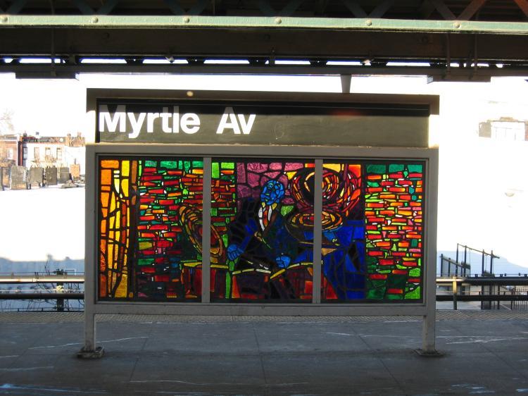 (76k, 750x562)<br><b>Country:</b> United States<br><b>City:</b> New York<br><b>System:</b> New York City Transit<br><b>Line:</b> BMT Nassau Street/Jamaica Line<br><b>Location:</b> Myrtle Avenue <br><b>Photo by:</b> Robbie Rosenfeld<br><b>Date:</b> 3/14/2005<br><b>Artwork:</b> <i>Jammin' Under the El</i>, Verna Hart (1999).<br><b>Viewed (this week/total):</b> 0 / 2350