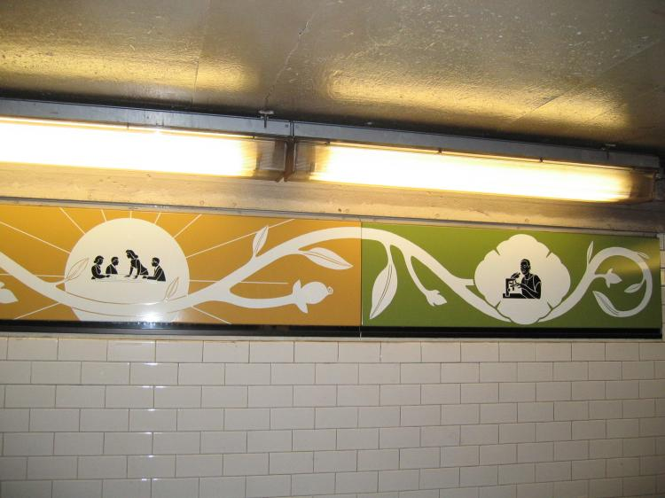 (57k, 750x562)<br><b>Country:</b> United States<br><b>City:</b> New York<br><b>System:</b> New York City Transit<br><b>Line:</b> IRT Brooklyn Line<br><b>Location:</b> Nevins Street <br><b>Photo by:</b> Robbie Rosenfeld<br><b>Date:</b> 3/21/2005<br><b>Artwork:</b> <i>Work & Nature</i>, Anton van Dalen (1997).<br><b>Viewed (this week/total):</b> 9 / 3825