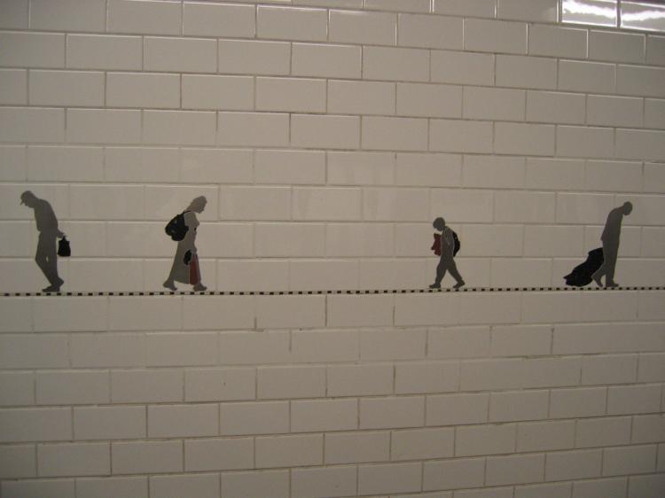 (31k, 750x562)<br><b>Country:</b> United States<br><b>City:</b> New York<br><b>System:</b> New York City Transit<br><b>Line:</b> BMT Broadway Line<br><b>Location:</b> Prince Street <br><b>Photo by:</b> Robbie Rosenfeld<br><b>Date:</b> 11/23/2004<br><b>Artwork:</b> <i>Carrying On</i>, Janet Zweig (2004).<br><b>Viewed (this week/total):</b> 9 / 5984