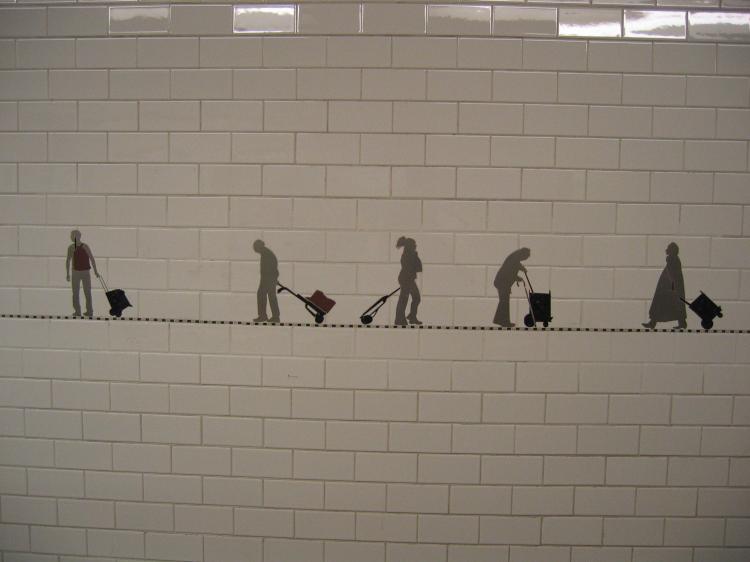 (36k, 750x562)<br><b>Country:</b> United States<br><b>City:</b> New York<br><b>System:</b> New York City Transit<br><b>Line:</b> BMT Broadway Line<br><b>Location:</b> Prince Street <br><b>Photo by:</b> Robbie Rosenfeld<br><b>Date:</b> 11/23/2004<br><b>Artwork:</b> <i>Carrying On</i>, Janet Zweig (2004).<br><b>Viewed (this week/total):</b> 3 / 7693