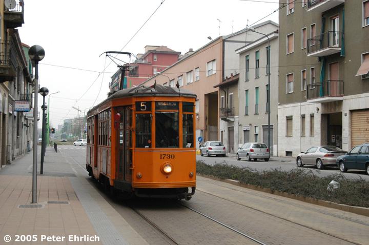 (140k, 720x478)<br><b>Country:</b> Italy<br><b>City:</b> Milan<br><b>System:</b> Azienda Trasporti Milanesi (ATM)<br><b>Location:</b> Niguarda Nord <br><b>Route:</b> 5<br><b>Car:</b> Milan Milano/Peter Witt (1927-1930)  1730 <br><b>Photo by:</b> Peter Ehrlich<br><b>Date:</b> 3/21/2005<br><b>Viewed (this week/total):</b> 0 / 1564