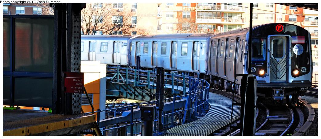 (249k, 1044x451)<br><b>Country:</b> United States<br><b>City:</b> New York<br><b>System:</b> New York City Transit<br><b>Line:</b> BMT Culver Line<br><b>Location:</b> West 8th Street <br><b>Route:</b> F<br><b>Car:</b> R-160A (Option 1) (Alstom, 2008-2009, 5 car sets)  9578 <br><b>Photo by:</b> Zach Summer<br><b>Date:</b> 1/10/2010<br><b>Viewed (this week/total):</b> 0 / 1770