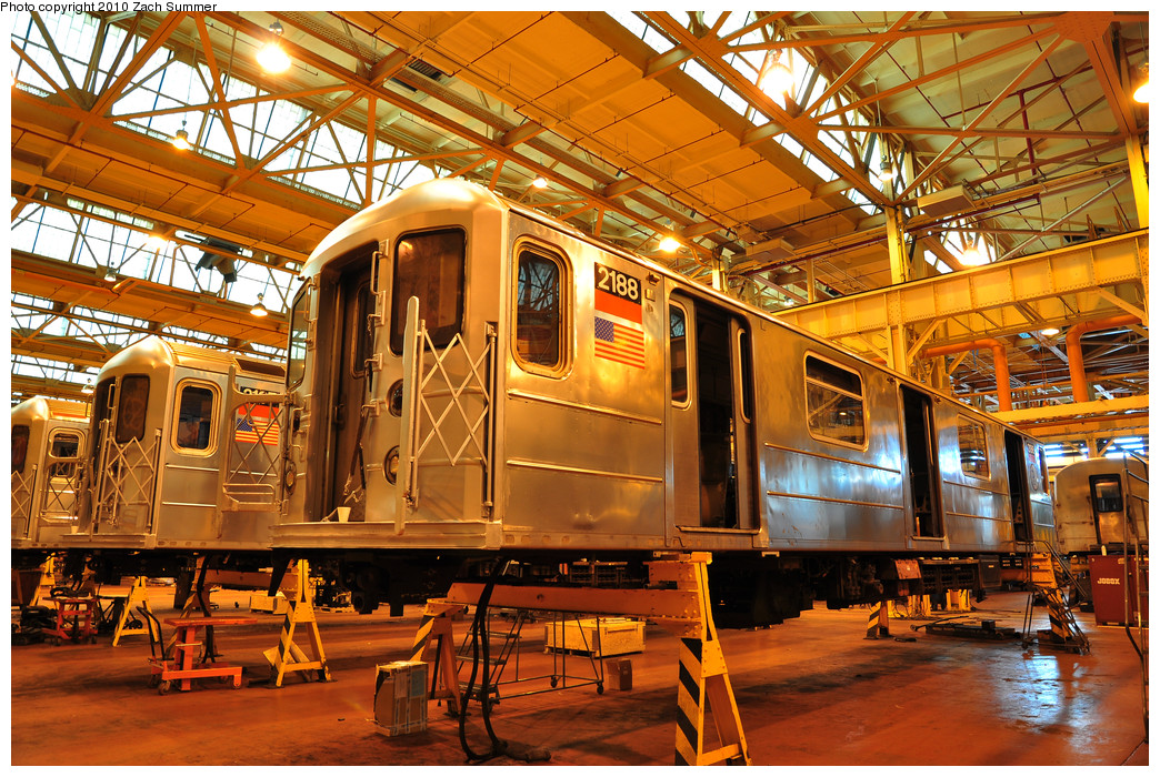 (418k, 1044x700)<br><b>Country:</b> United States<br><b>City:</b> New York<br><b>System:</b> New York City Transit<br><b>Location:</b> Coney Island Shop/Overhaul & Repair Shop<br><b>Car:</b> R-62A (Bombardier, 1984-1987)  2188 <br><b>Photo by:</b> Zach Summer<br><b>Date:</b> 1/10/2010<br><b>Viewed (this week/total):</b> 0 / 615