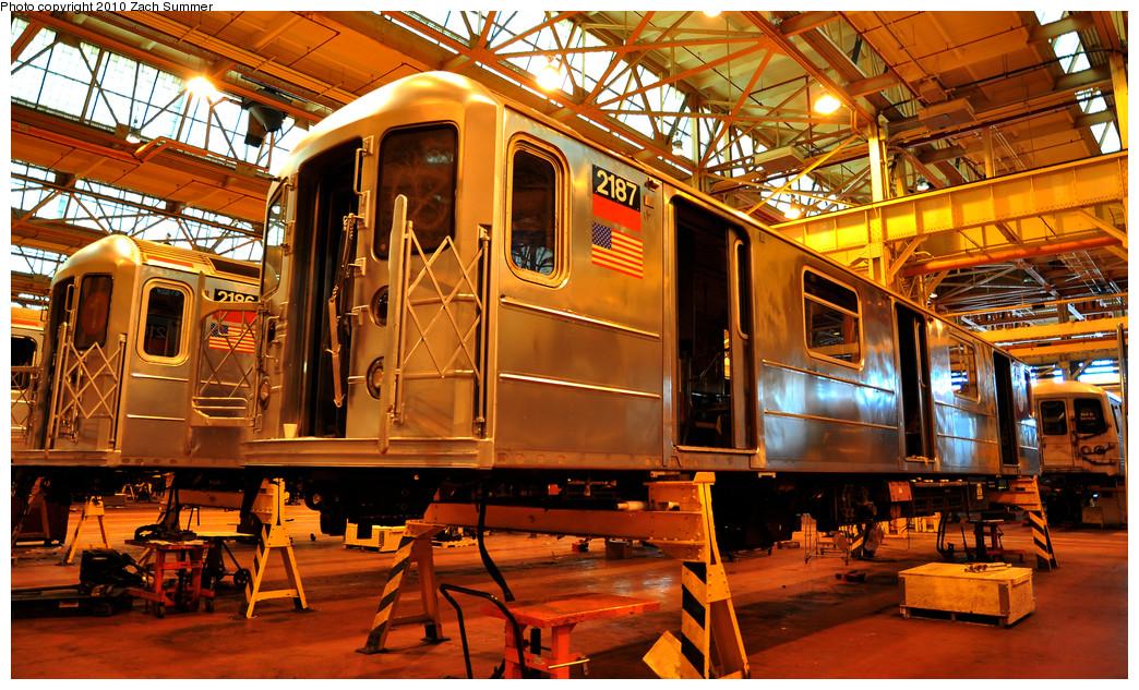 (377k, 1044x633)<br><b>Country:</b> United States<br><b>City:</b> New York<br><b>System:</b> New York City Transit<br><b>Location:</b> Coney Island Shop/Overhaul & Repair Shop<br><b>Car:</b> R-62A (Bombardier, 1984-1987)  2187 <br><b>Photo by:</b> Zach Summer<br><b>Date:</b> 1/10/2010<br><b>Viewed (this week/total):</b> 0 / 693