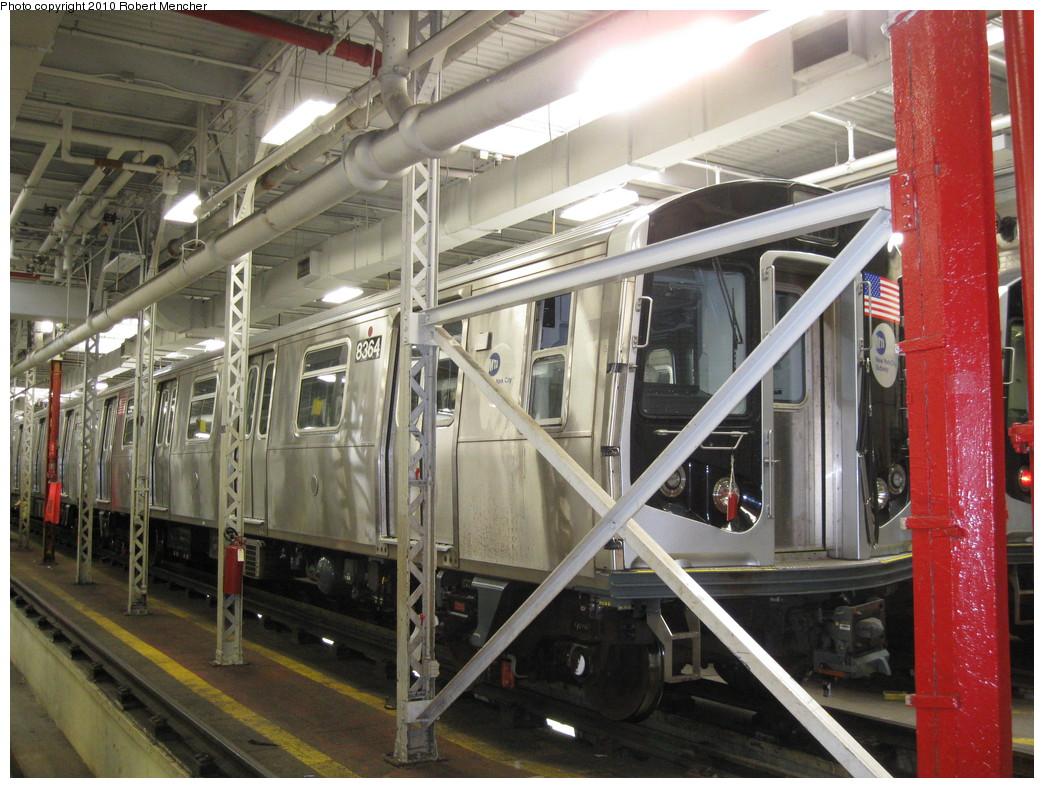 (259k, 1044x788)<br><b>Country:</b> United States<br><b>City:</b> New York<br><b>System:</b> New York City Transit<br><b>Location:</b> East New York Yard/Shops<br><b>Car:</b> R-160A-1 (Alstom, 2005-2008, 4 car sets)  8364 <br><b>Photo by:</b> Robert Mencher<br><b>Date:</b> 2/8/2010<br><b>Viewed (this week/total):</b> 2 / 961
