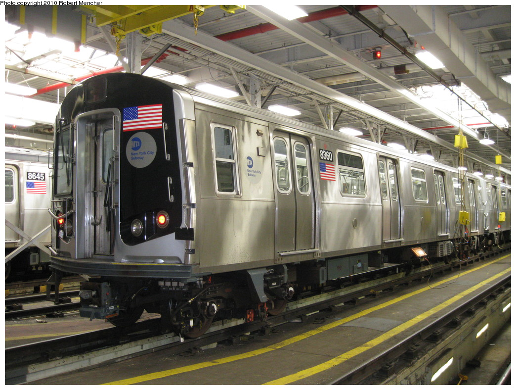 (262k, 1044x788)<br><b>Country:</b> United States<br><b>City:</b> New York<br><b>System:</b> New York City Transit<br><b>Location:</b> East New York Yard/Shops<br><b>Car:</b> R-160A-1 (Alstom, 2005-2008, 4 car sets)  8360 <br><b>Photo by:</b> Robert Mencher<br><b>Date:</b> 2/8/2010<br><b>Viewed (this week/total):</b> 0 / 997