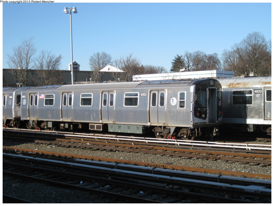 (235k, 1044x788)<br><b>Country:</b> United States<br><b>City:</b> New York<br><b>System:</b> New York City Transit<br><b>Location:</b> East New York Yard/Shops<br><b>Car:</b> R-143 (Kawasaki, 2001-2002) 8153 <br><b>Photo by:</b> Robert Mencher<br><b>Date:</b> 2/8/2010<br><b>Viewed (this week/total):</b> 0 / 610