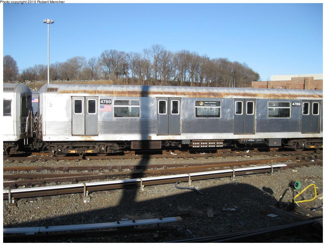 (251k, 1044x788)<br><b>Country:</b> United States<br><b>City:</b> New York<br><b>System:</b> New York City Transit<br><b>Location:</b> East New York Yard/Shops<br><b>Car:</b> R-42 (St. Louis, 1969-1970)  4789 <br><b>Photo by:</b> Robert Mencher<br><b>Date:</b> 2/8/2010<br><b>Viewed (this week/total):</b> 0 / 619