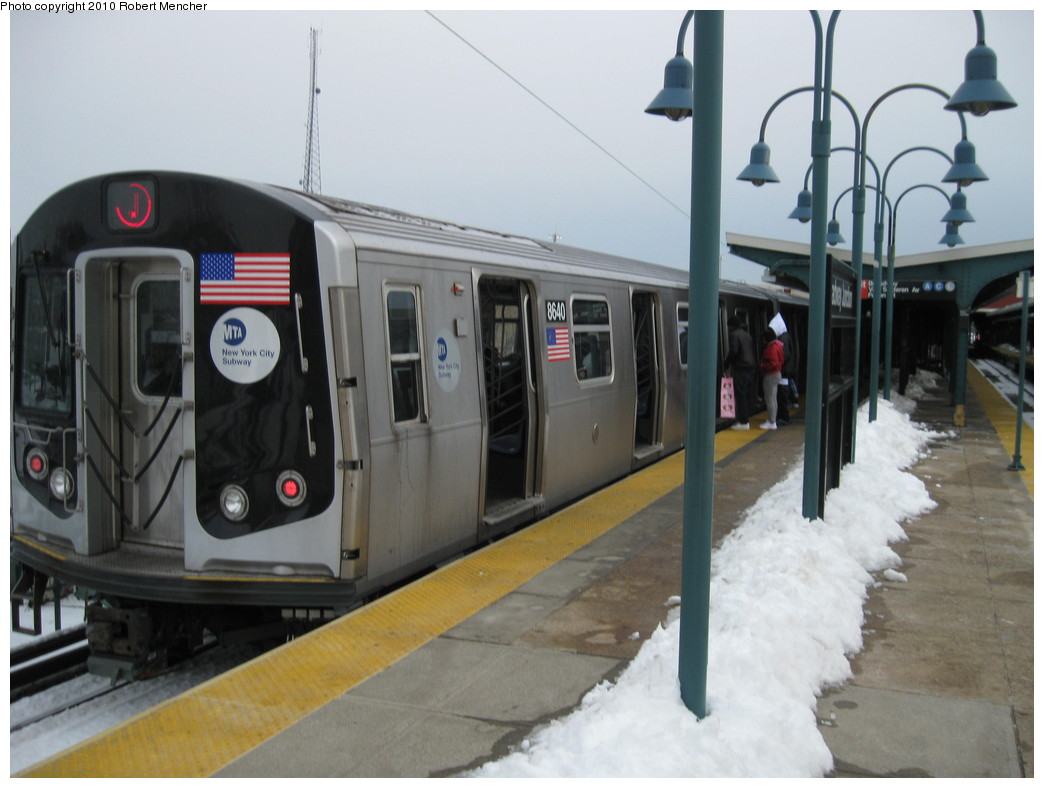 (173k, 1044x788)<br><b>Country:</b> United States<br><b>City:</b> New York<br><b>System:</b> New York City Transit<br><b>Line:</b> BMT Nassau Street/Jamaica Line<br><b>Location:</b> Broadway/East New York (Broadway Junction) <br><b>Route:</b> J<br><b>Car:</b> R-160A-1 (Alstom, 2005-2008, 4 car sets)  8640 <br><b>Photo by:</b> Robert Mencher<br><b>Date:</b> 2/13/2010<br><b>Viewed (this week/total):</b> 2 / 897