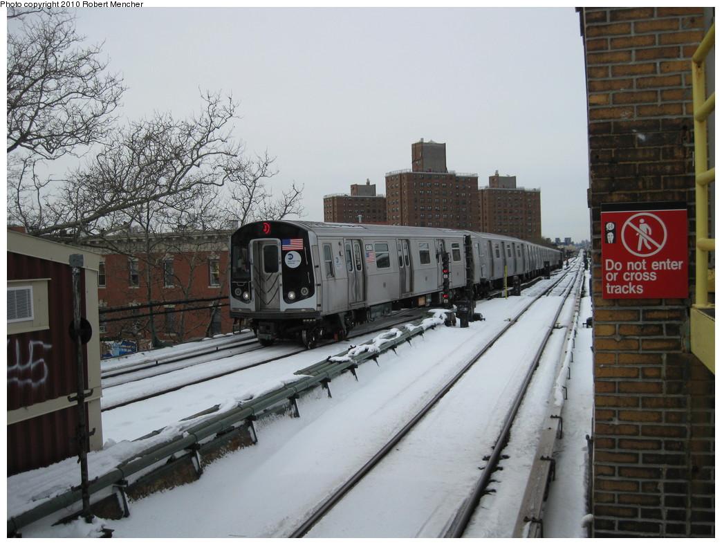 (223k, 1044x788)<br><b>Country:</b> United States<br><b>City:</b> New York<br><b>System:</b> New York City Transit<br><b>Line:</b> BMT Nassau Street/Jamaica Line<br><b>Location:</b> Broadway/East New York (Broadway Junction) <br><b>Route:</b> J<br><b>Car:</b> R-160A-1 (Alstom, 2005-2008, 4 car sets)  8388 <br><b>Photo by:</b> Robert Mencher<br><b>Date:</b> 2/13/2010<br><b>Viewed (this week/total):</b> 0 / 753
