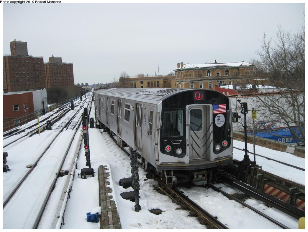 (222k, 1044x788)<br><b>Country:</b> United States<br><b>City:</b> New York<br><b>System:</b> New York City Transit<br><b>Line:</b> BMT Nassau Street/Jamaica Line<br><b>Location:</b> Broadway/East New York (Broadway Junction) <br><b>Route:</b> J<br><b>Car:</b> R-160A-1 (Alstom, 2005-2008, 4 car sets)  8625 <br><b>Photo by:</b> Robert Mencher<br><b>Date:</b> 2/13/2010<br><b>Viewed (this week/total):</b> 0 / 1044