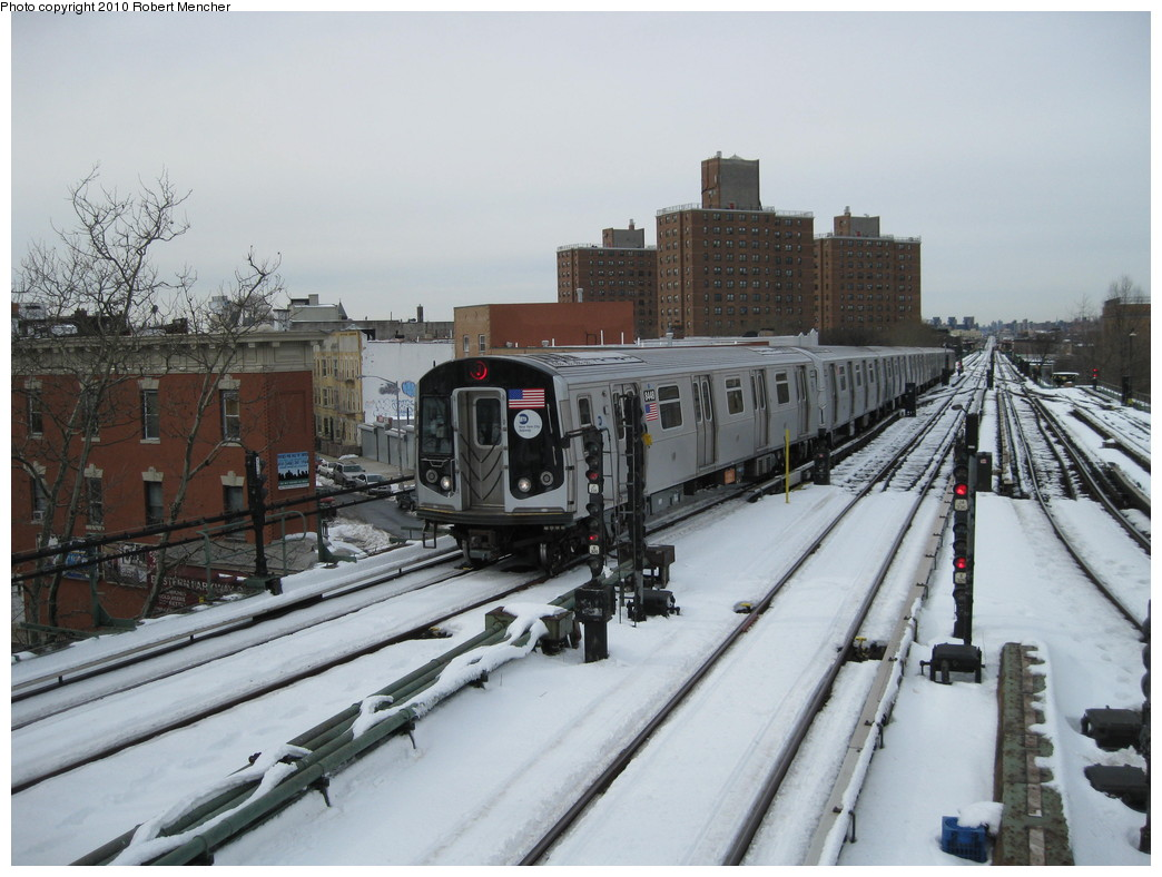 (208k, 1044x788)<br><b>Country:</b> United States<br><b>City:</b> New York<br><b>System:</b> New York City Transit<br><b>Line:</b> BMT Nassau Street/Jamaica Line<br><b>Location:</b> Broadway/East New York (Broadway Junction) <br><b>Route:</b> J<br><b>Car:</b> R-160A-1 (Alstom, 2005-2008, 4 car sets)  8448 <br><b>Photo by:</b> Robert Mencher<br><b>Date:</b> 2/13/2010<br><b>Viewed (this week/total):</b> 0 / 834