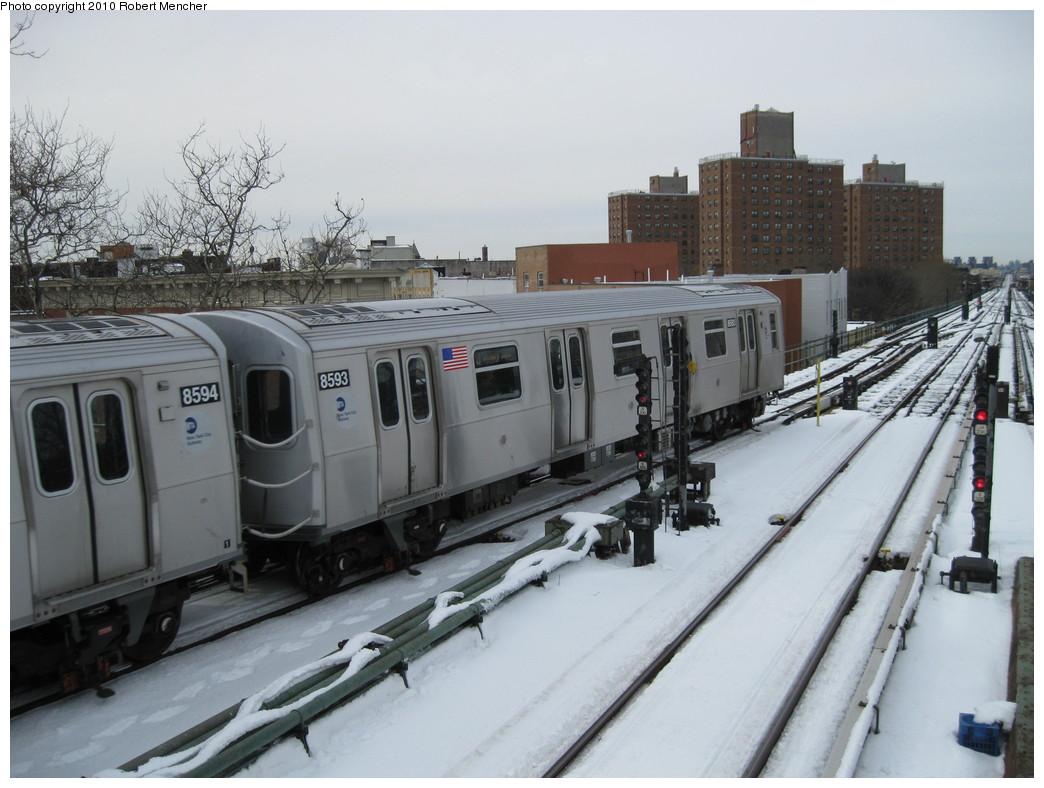 (199k, 1044x788)<br><b>Country:</b> United States<br><b>City:</b> New York<br><b>System:</b> New York City Transit<br><b>Line:</b> BMT Nassau Street/Jamaica Line<br><b>Location:</b> Broadway/East New York (Broadway Junction) <br><b>Route:</b> J<br><b>Car:</b> R-160A-1 (Alstom, 2005-2008, 4 car sets)  8593 <br><b>Photo by:</b> Robert Mencher<br><b>Date:</b> 2/13/2010<br><b>Viewed (this week/total):</b> 0 / 821