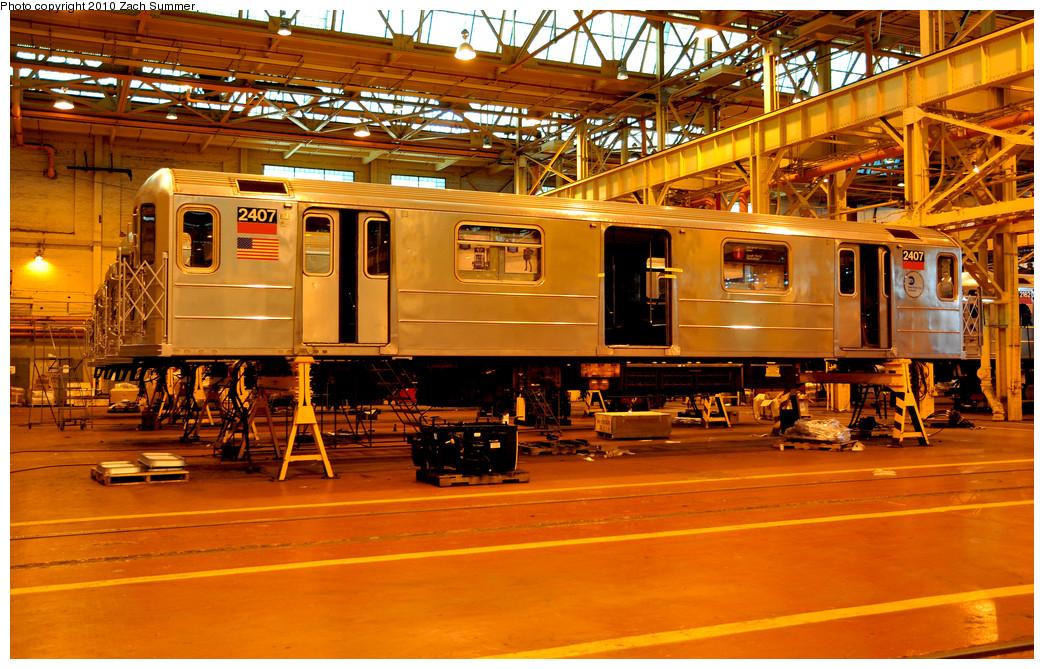 (360k, 1044x669)<br><b>Country:</b> United States<br><b>City:</b> New York<br><b>System:</b> New York City Transit<br><b>Location:</b> Coney Island Shop/Overhaul & Repair Shop<br><b>Car:</b> R-62A (Bombardier, 1984-1987)  2407 <br><b>Photo by:</b> Zach Summer<br><b>Date:</b> 1/10/2010<br><b>Viewed (this week/total):</b> 1 / 696