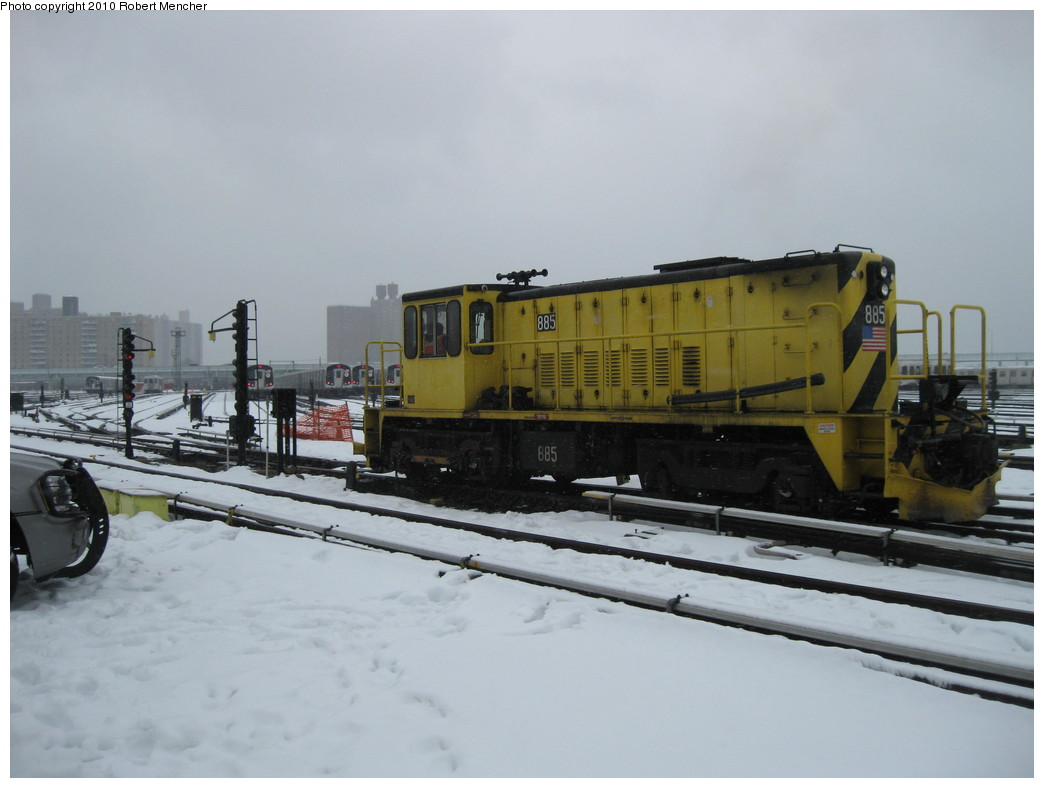 (155k, 1044x788)<br><b>Country:</b> United States<br><b>City:</b> New York<br><b>System:</b> New York City Transit<br><b>Location:</b> Coney Island Yard<br><b>Car:</b> R-77 Locomotive  885 <br><b>Photo by:</b> Robert Mencher<br><b>Date:</b> 2/16/2010<br><b>Viewed (this week/total):</b> 1 / 502