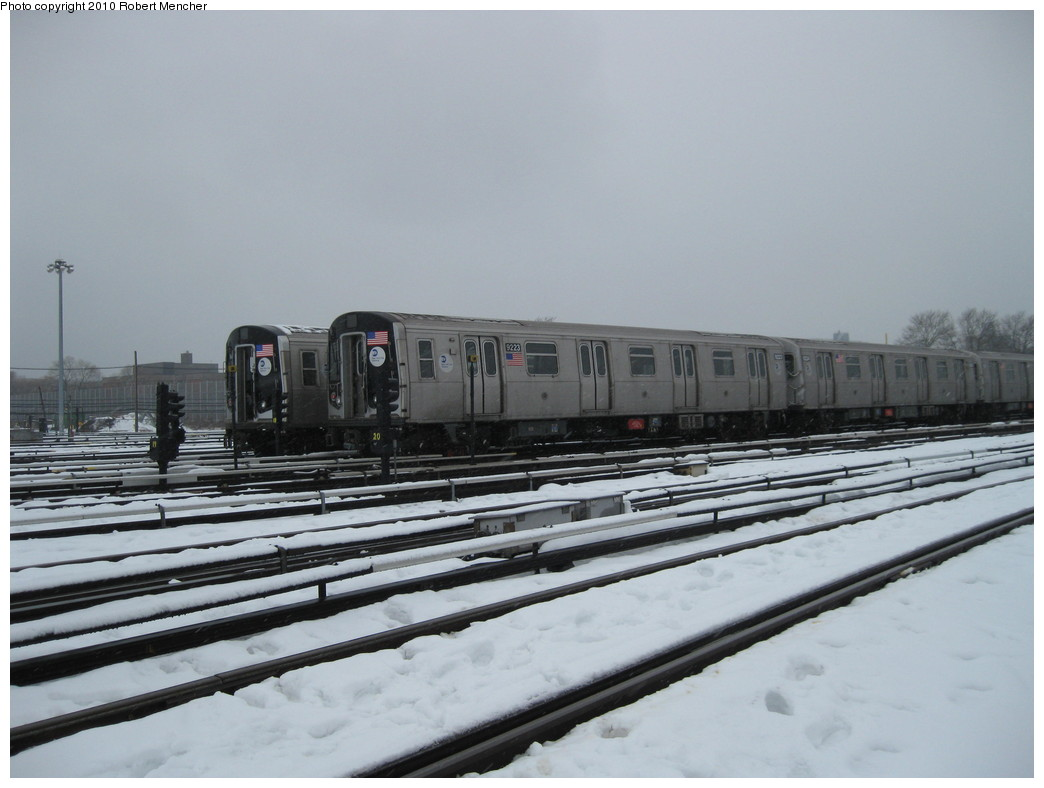 (163k, 1044x788)<br><b>Country:</b> United States<br><b>City:</b> New York<br><b>System:</b> New York City Transit<br><b>Location:</b> Coney Island Yard<br><b>Car:</b> R-160B (Option 1) (Kawasaki, 2008-2009)  9223 <br><b>Photo by:</b> Robert Mencher<br><b>Date:</b> 2/16/2010<br><b>Viewed (this week/total):</b> 0 / 723