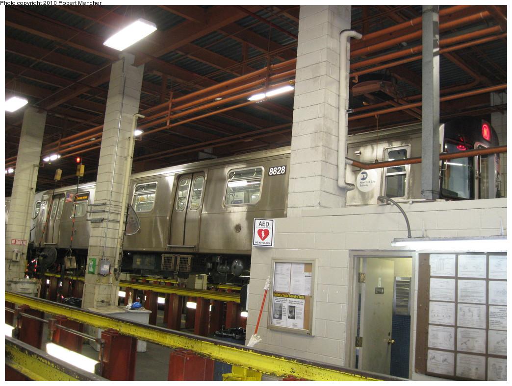 (247k, 1044x788)<br><b>Country:</b> United States<br><b>City:</b> New York<br><b>System:</b> New York City Transit<br><b>Location:</b> Coney Island Shop/Maint. & Inspection Shop<br><b>Car:</b> R-160B (Kawasaki, 2005-2008)  8828 <br><b>Photo by:</b> Robert Mencher<br><b>Date:</b> 2/16/2010<br><b>Viewed (this week/total):</b> 0 / 1021