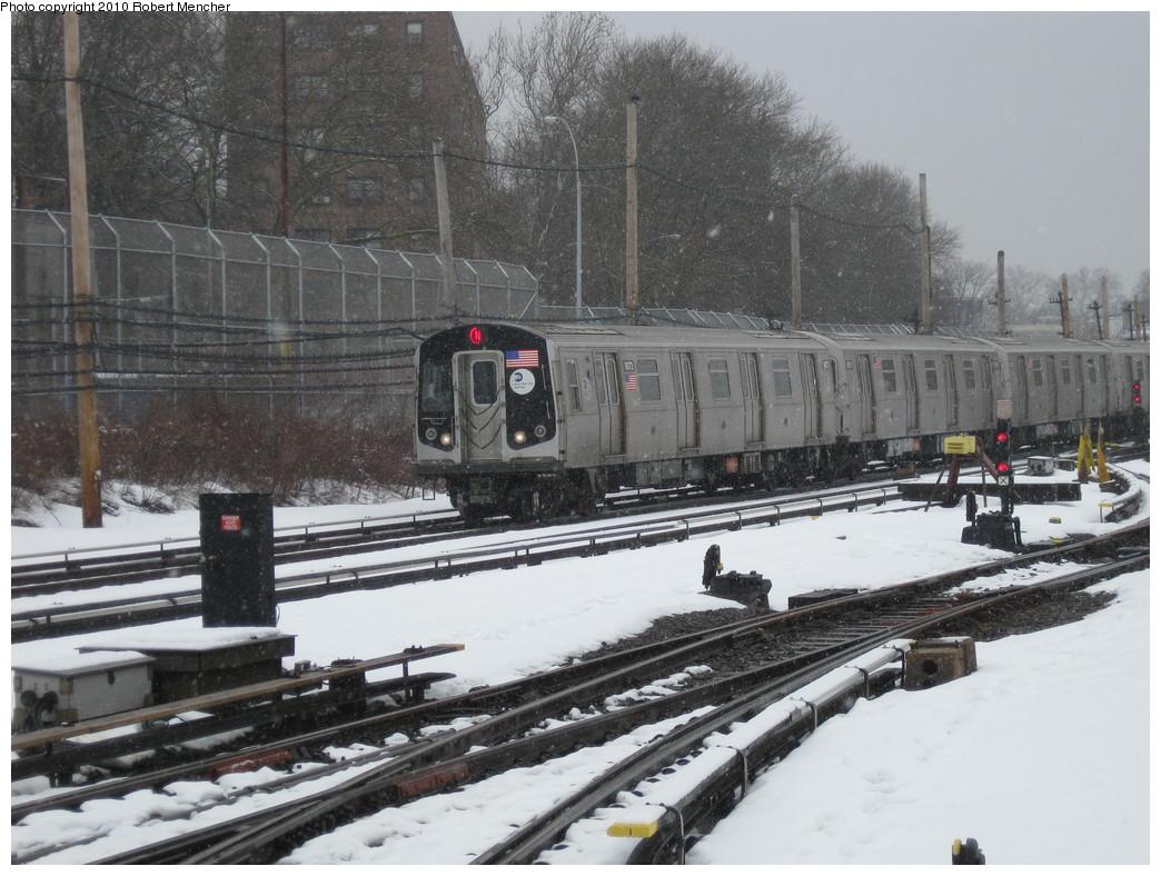 (239k, 1044x788)<br><b>Country:</b> United States<br><b>City:</b> New York<br><b>System:</b> New York City Transit<br><b>Location:</b> Coney Island Yard<br><b>Route:</b> N<br><b>Car:</b> R-160B (Option 1) (Kawasaki, 2008-2009)  9073 <br><b>Photo by:</b> Robert Mencher<br><b>Date:</b> 2/16/2010<br><b>Viewed (this week/total):</b> 0 / 976