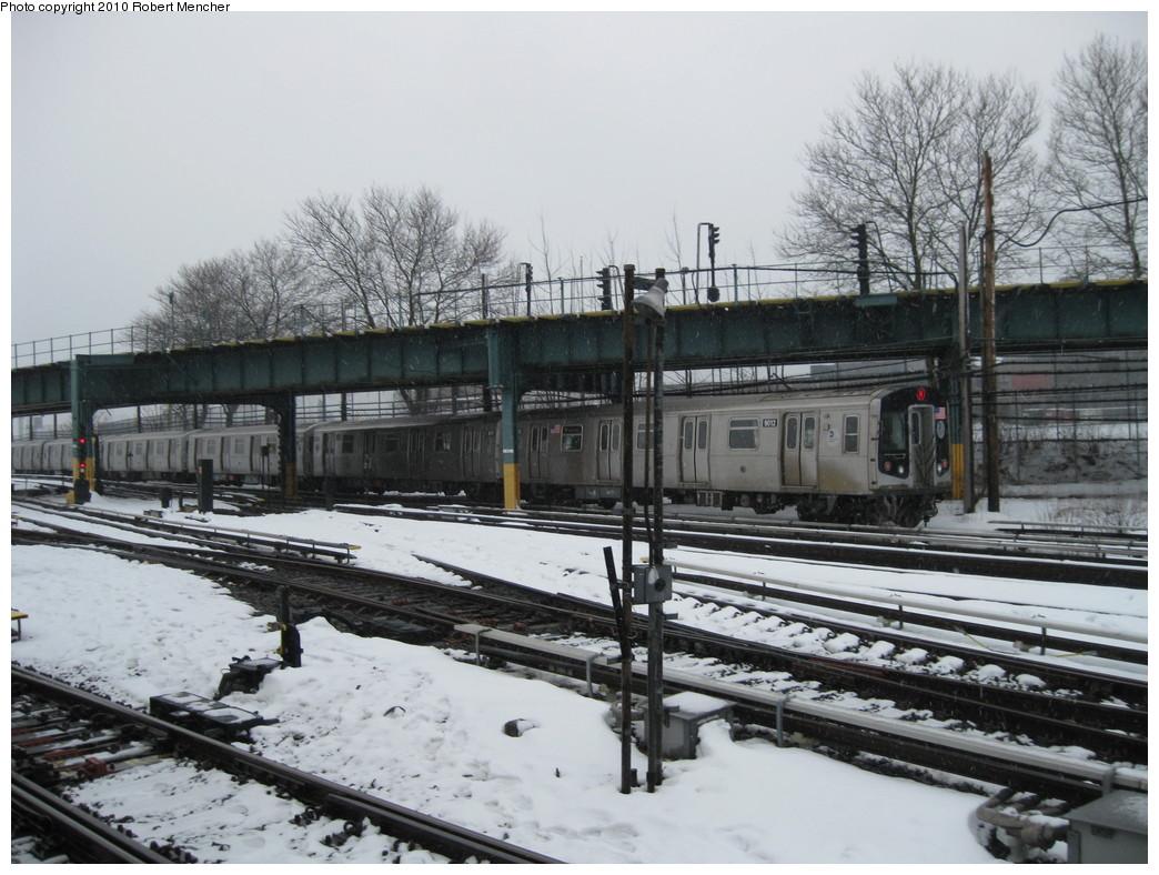 (227k, 1044x788)<br><b>Country:</b> United States<br><b>City:</b> New York<br><b>System:</b> New York City Transit<br><b>Location:</b> Coney Island Yard<br><b>Route:</b> N<br><b>Car:</b> R-160B (Option 1) (Kawasaki, 2008-2009)  9012 <br><b>Photo by:</b> Robert Mencher<br><b>Date:</b> 2/16/2010<br><b>Viewed (this week/total):</b> 2 / 867