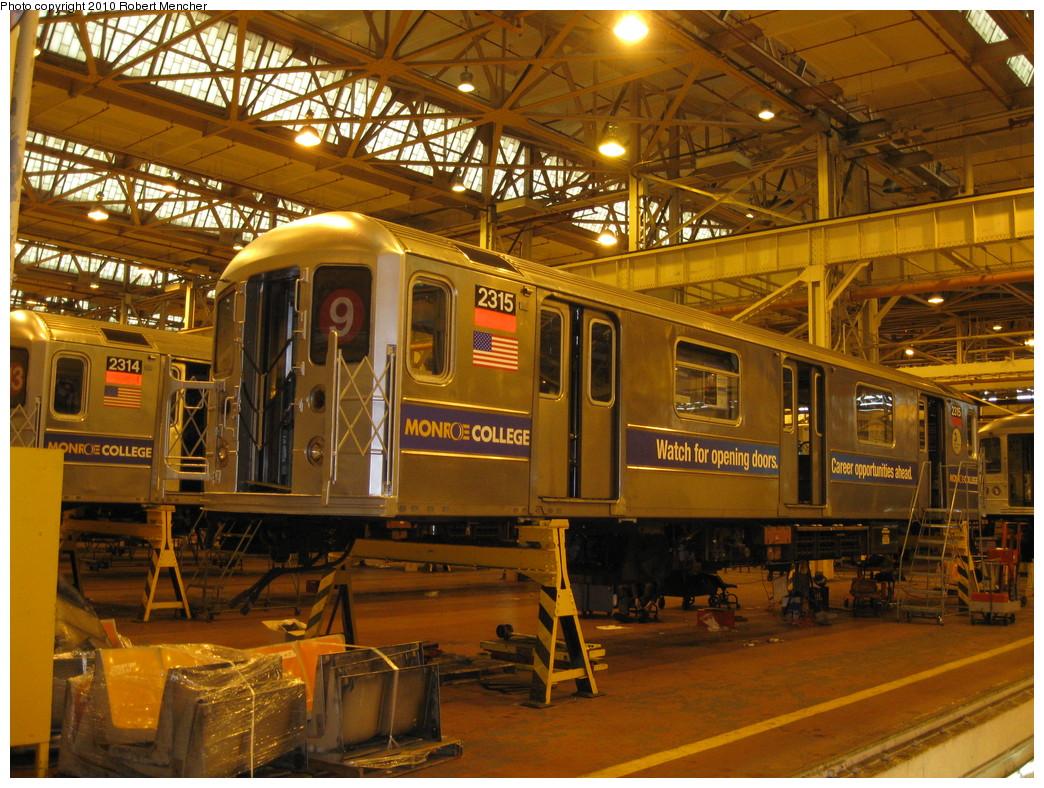(302k, 1044x788)<br><b>Country:</b> United States<br><b>City:</b> New York<br><b>System:</b> New York City Transit<br><b>Location:</b> Coney Island Shop/Overhaul & Repair Shop<br><b>Car:</b> R-62A (Bombardier, 1984-1987)  2315 <br><b>Photo by:</b> Robert Mencher<br><b>Date:</b> 2/16/2010<br><b>Viewed (this week/total):</b> 0 / 757