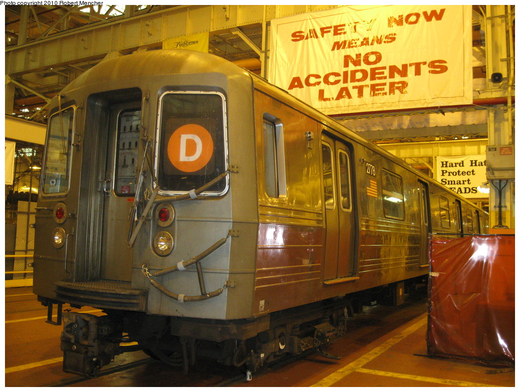 (268k, 1044x788)<br><b>Country:</b> United States<br><b>City:</b> New York<br><b>System:</b> New York City Transit<br><b>Location:</b> Coney Island Shop/Overhaul & Repair Shop<br><b>Car:</b> R-68 (Westinghouse-Amrail, 1986-1988)  2778 <br><b>Photo by:</b> Robert Mencher<br><b>Date:</b> 2/16/2010<br><b>Viewed (this week/total):</b> 2 / 909