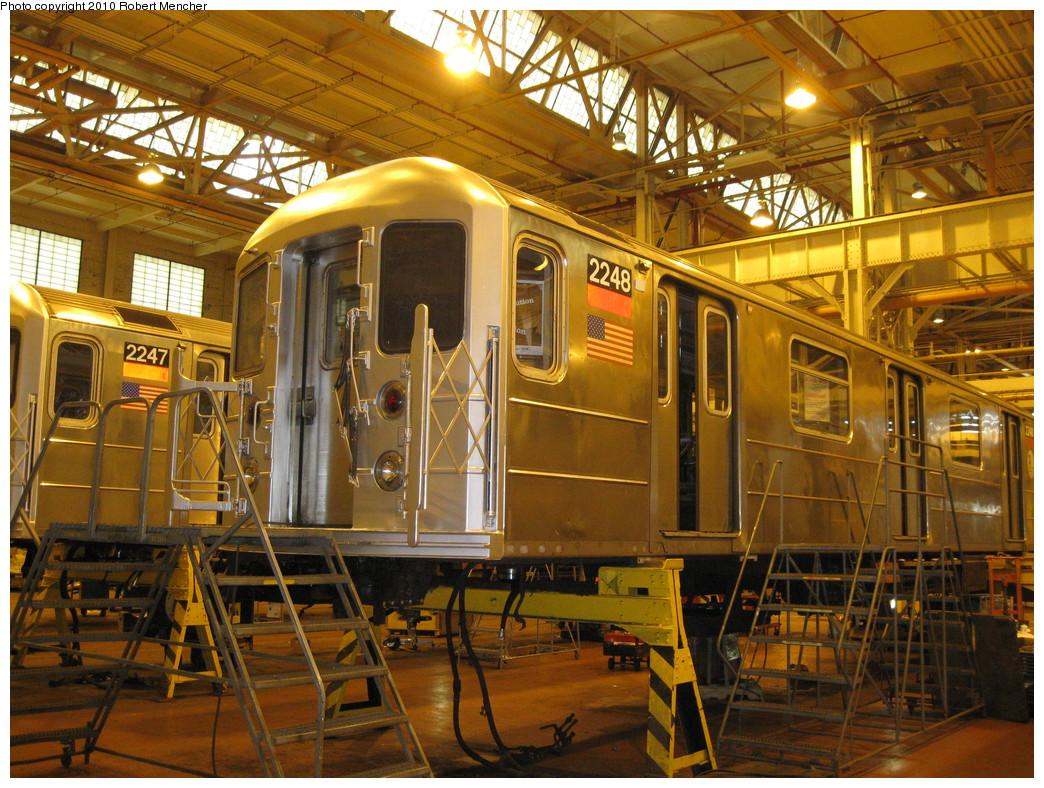 (315k, 1044x788)<br><b>Country:</b> United States<br><b>City:</b> New York<br><b>System:</b> New York City Transit<br><b>Location:</b> Coney Island Shop/Overhaul & Repair Shop<br><b>Car:</b> R-62A (Bombardier, 1984-1987)  2248 <br><b>Photo by:</b> Robert Mencher<br><b>Date:</b> 2/16/2010<br><b>Viewed (this week/total):</b> 1 / 555
