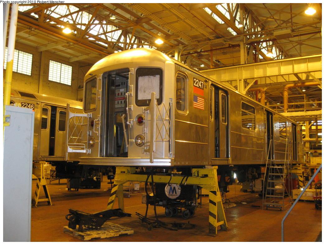 (299k, 1044x788)<br><b>Country:</b> United States<br><b>City:</b> New York<br><b>System:</b> New York City Transit<br><b>Location:</b> Coney Island Shop/Overhaul & Repair Shop<br><b>Car:</b> R-62A (Bombardier, 1984-1987)  2247 <br><b>Photo by:</b> Robert Mencher<br><b>Date:</b> 2/16/2010<br><b>Viewed (this week/total):</b> 0 / 691